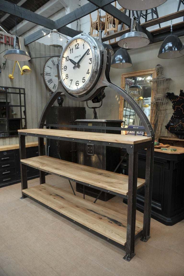 Mid-20th Century Industrial Large Shelf with Parisian Subway Lepaute Clock, circa 1950 For Sale