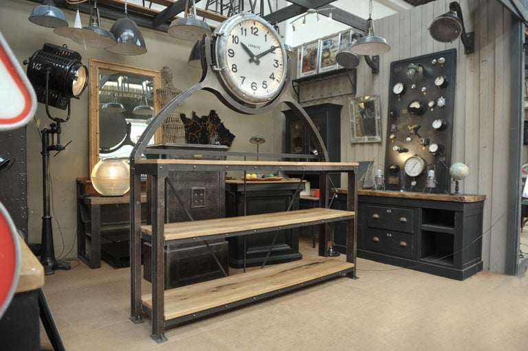 Glass Industrial Large Shelf with Parisian Subway Lepaute Clock, circa 1950 For Sale