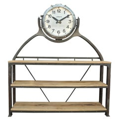 Industrial Large Shelf with Parisian Subway Lepaute Clock, circa 1950