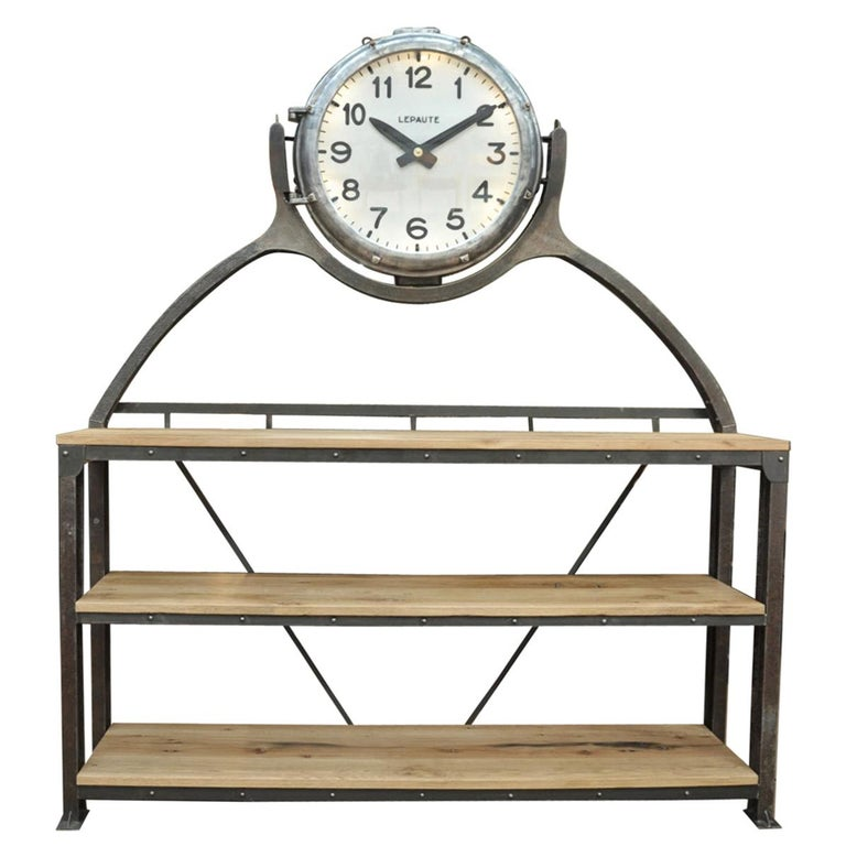 Industrial Large Shelf with Parisian Subway Lepaute Clock, circa 1950 For Sale