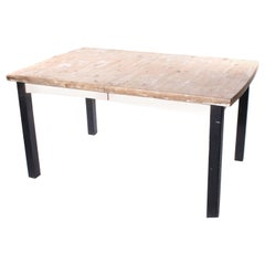 Industrial Large Table with Black Painted Legs in Solid Pine