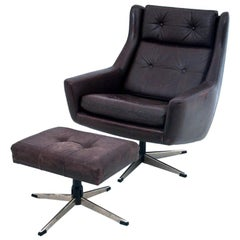 Industrial Leather Armchair with a Footstool, Denmark, 1960s