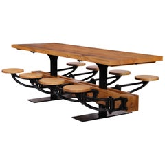 Industrial Library Table with Swing-Out Stools and Reclaimed Pine 4-24 Seats