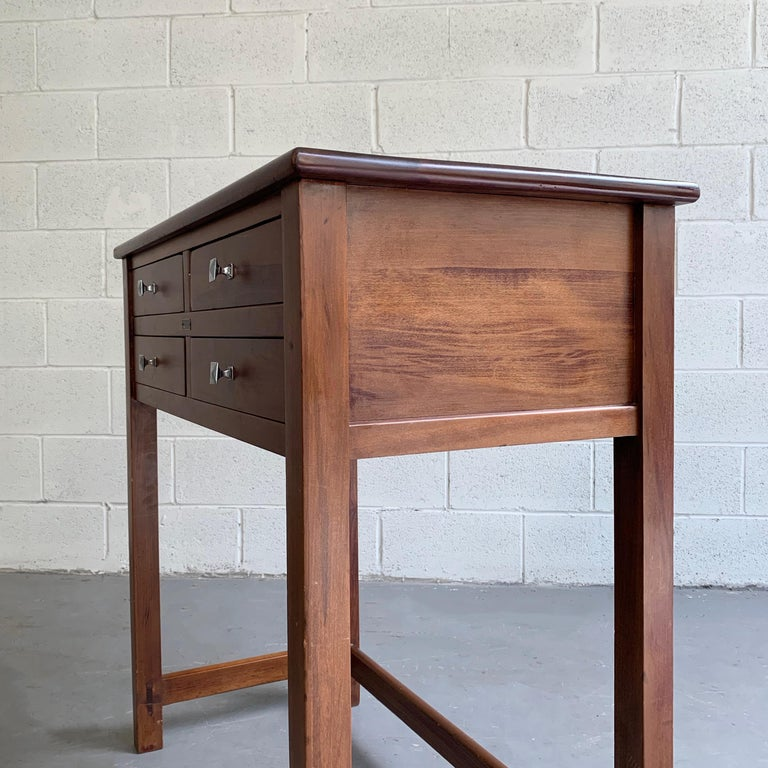 Early 20th Century Industrial Mahogany Examination Console Table by Bausch & Lomb For Sale