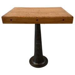 Industrial Maple Butcher Black Table with Cast Iron Base