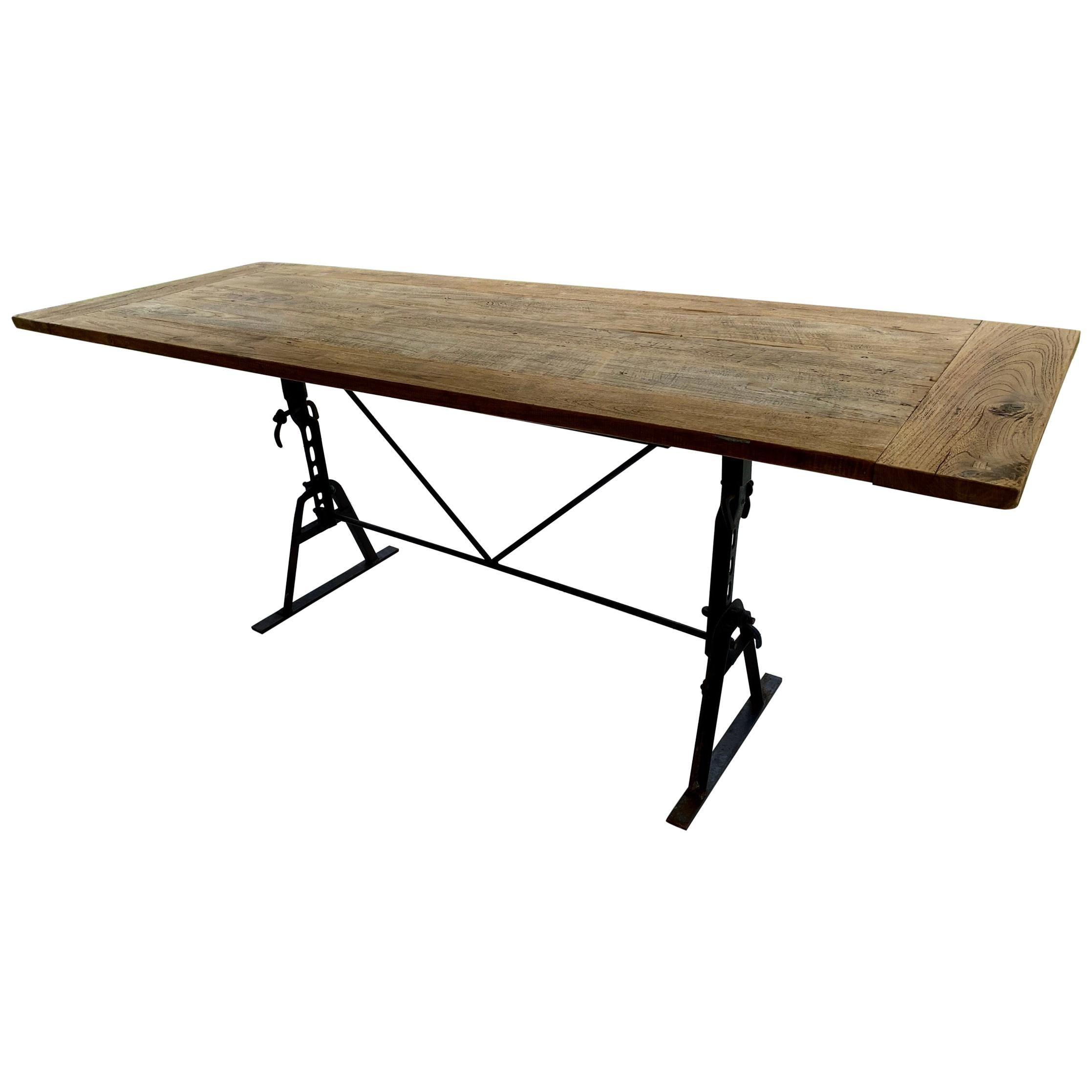 Industrial Metal Base and Teak Top Dining Table