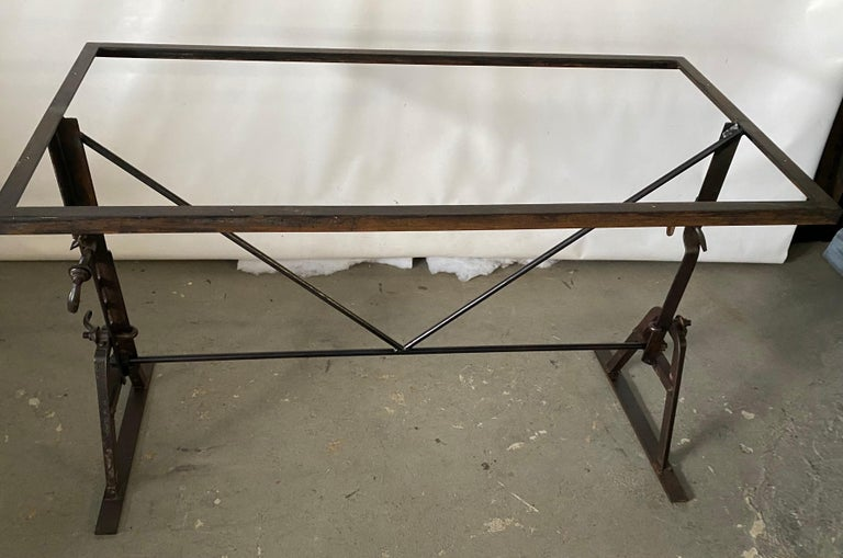 Industrial Metal Base Garden Dining Table or Desk For Sale 4