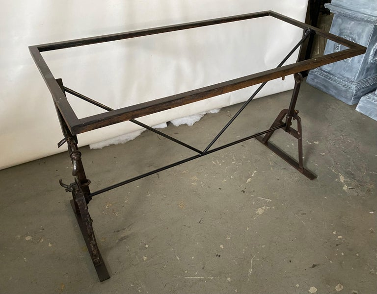 Industrial Metal Base Garden Dining Table or Desk For Sale 5