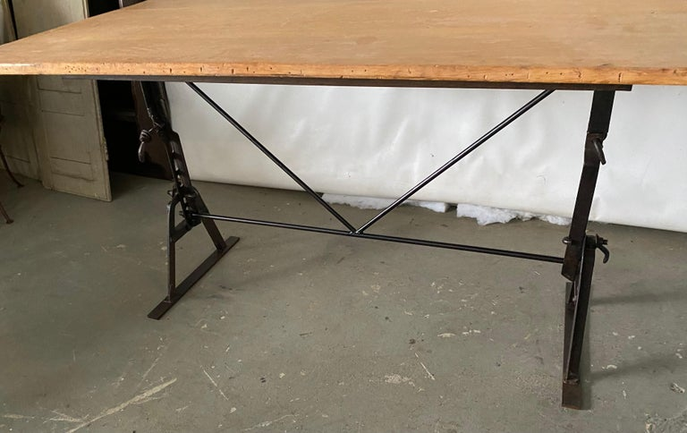 American Industrial Metal Base Garden Dining Table or Desk For Sale