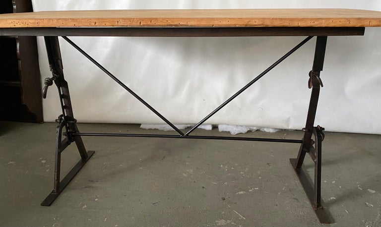 Industrial Metal Base Garden Dining Table or Desk In Good Condition For Sale In Great Barrington, MA