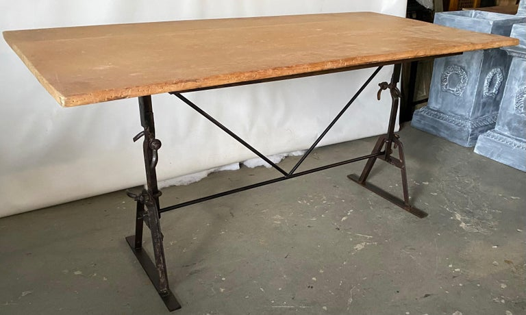 19th Century Industrial Metal Base Garden Dining Table or Desk For Sale