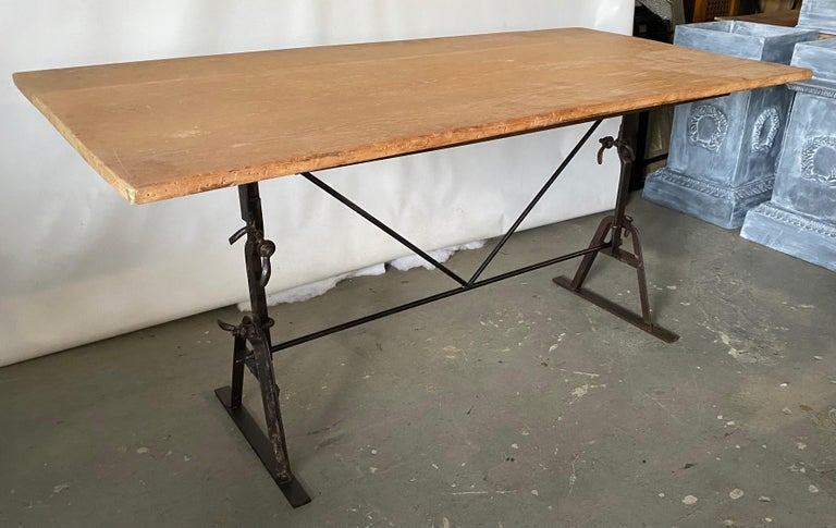 Iron Industrial Metal Base Garden Dining Table or Desk For Sale