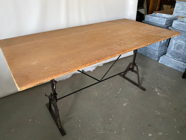 Industrial Metal Base Garden Dining Table or Desk For Sale 1