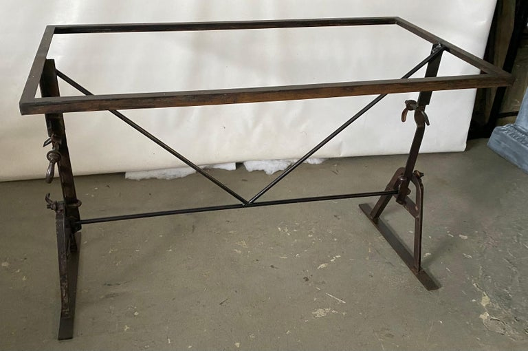 Industrial Metal Base Garden Dining Table or Desk For Sale 3