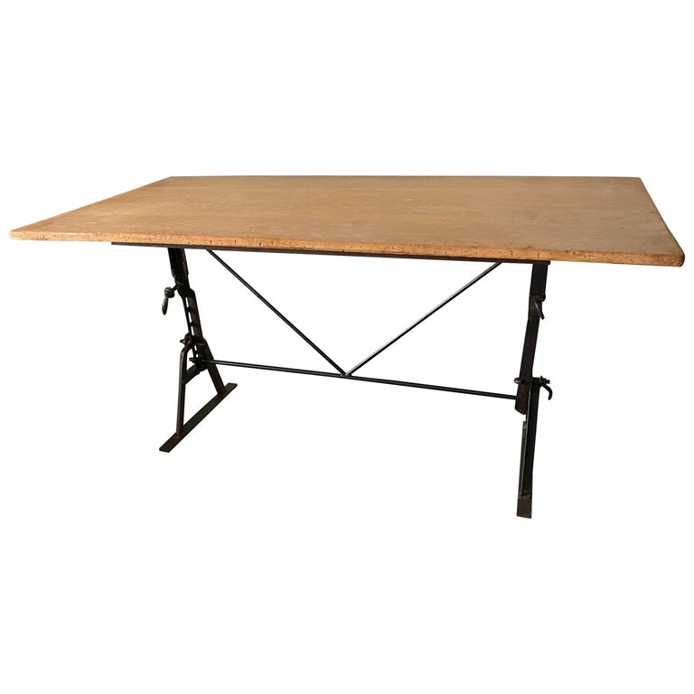 Industrial Metal Base Garden Dining Table or Desk For Sale