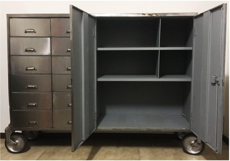 Industrial Metal Cabinet On Heavy Duty Casters Drawers And Doors