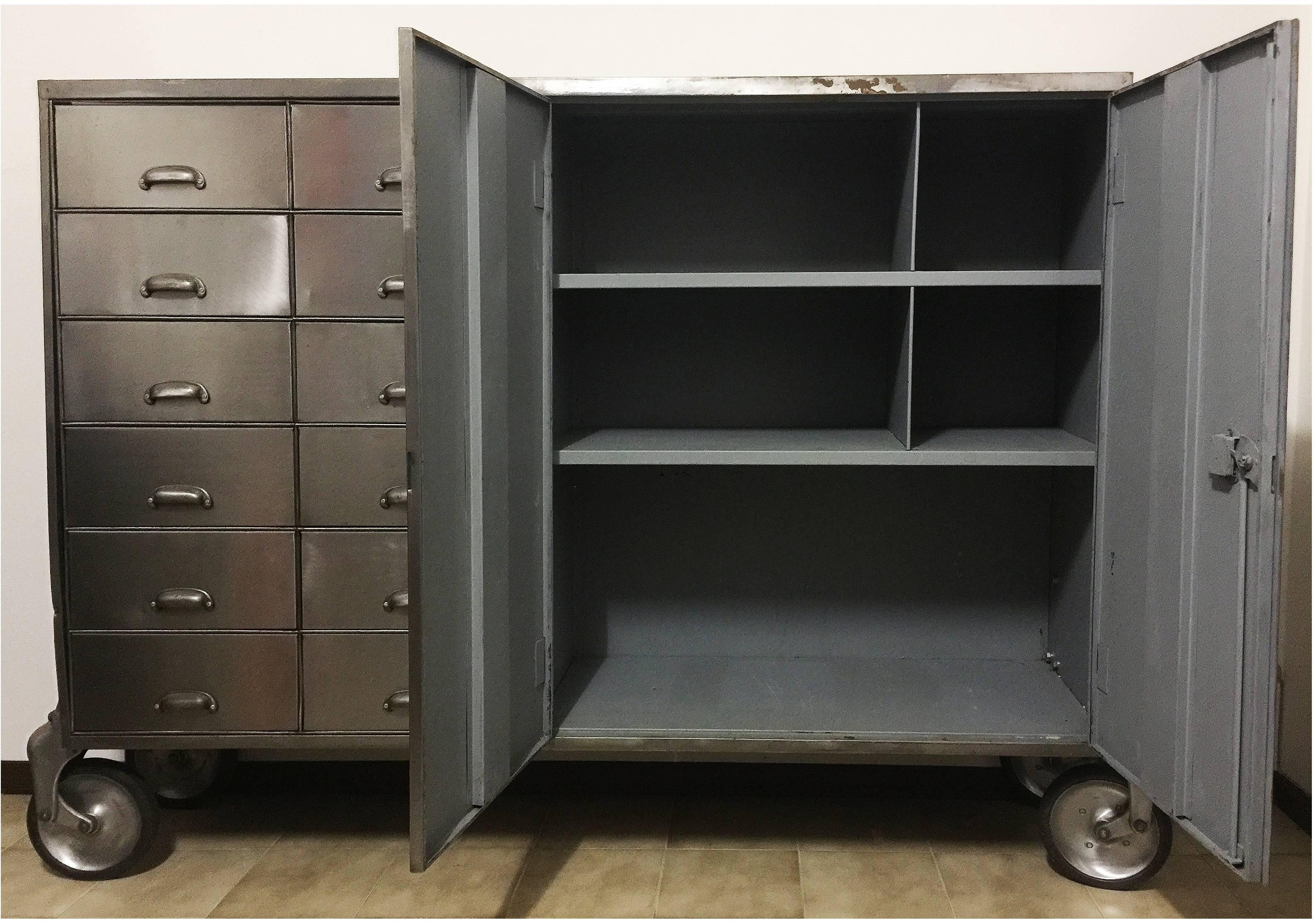 Industrial metal cabinet with unique details such as rounded cast aluminium caster brackets and pull handles & Industrial Metal Cabinet on Heavy Duty Casters Drawers and Doors ...