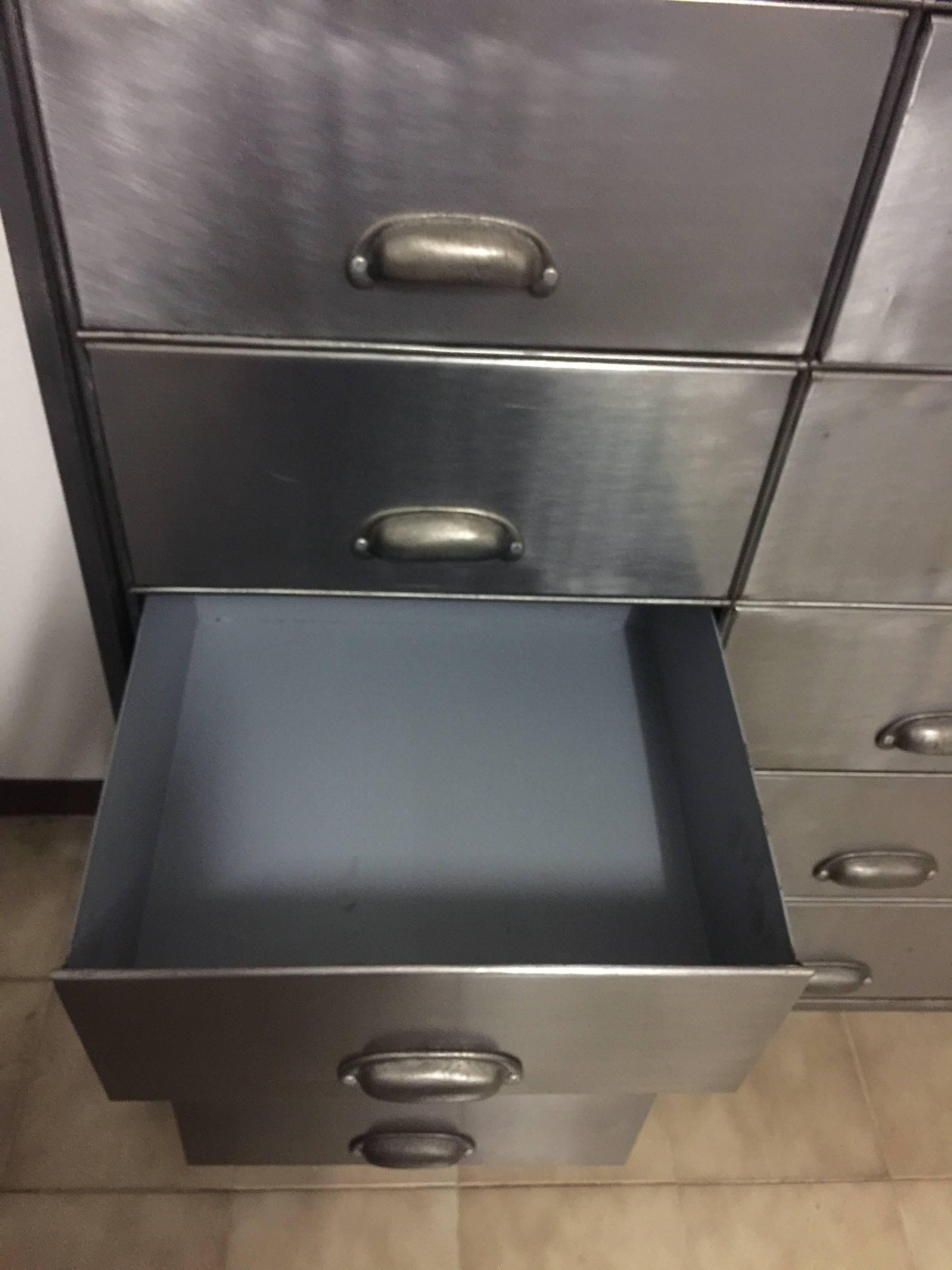 Industrial Metal Cabinet On Heavy Duty Casters, Drawers And Doors In Fair  Condition For Sale