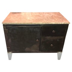 Industrial Metal Cabinet with Stone Top