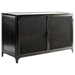 Industrial Metal Console Cabinet with Double Doors in Blackened Steel Finish