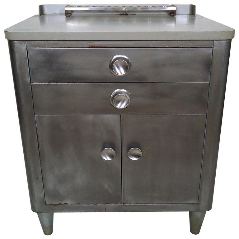 industrial metal dental cabinet for sale at 1stdibs. Black Bedroom Furniture Sets. Home Design Ideas