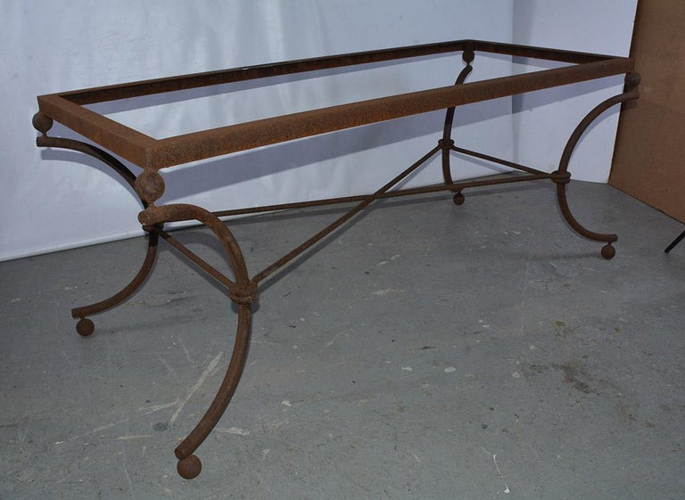 Neoclassical Revival Industrial Metal Dining Table Base For Sale