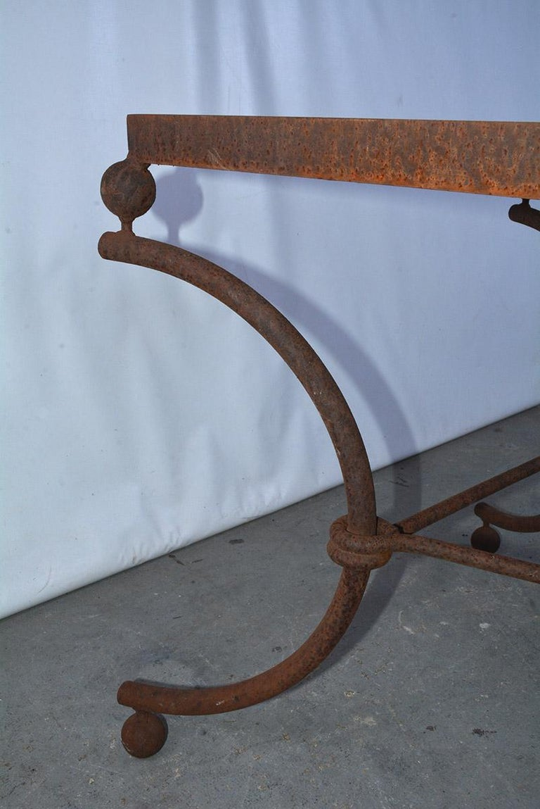 Industrial Metal Dining Table Base In Good Condition For Sale In Great Barrington, MA