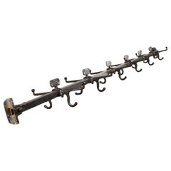 Industrial Metal Double Sided Coat Hook Rails, 20th Century