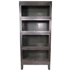 Industrial Metal Finished Barrister Bookcase