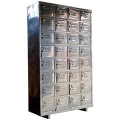 Industrial Metal Lockers Cabinet Midcentury Steel Cabinet Loft Style, 1940s