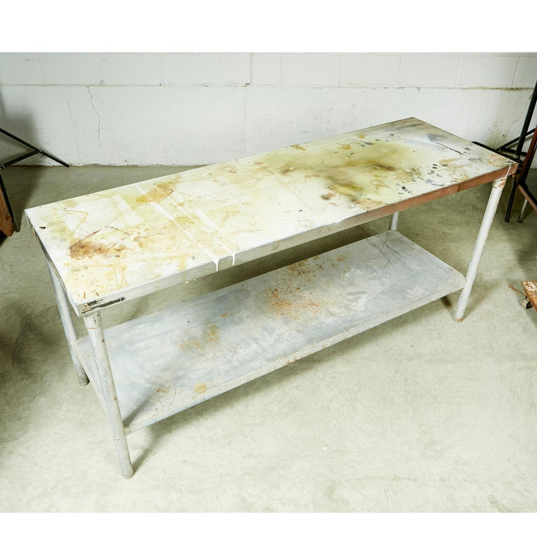 American Industrial Metal Rectangular Commercial Table For Sale
