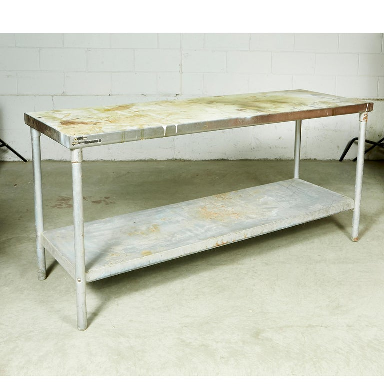 Industrial Metal Rectangular Commercial Table In Good Condition For Sale In Amherst, NH