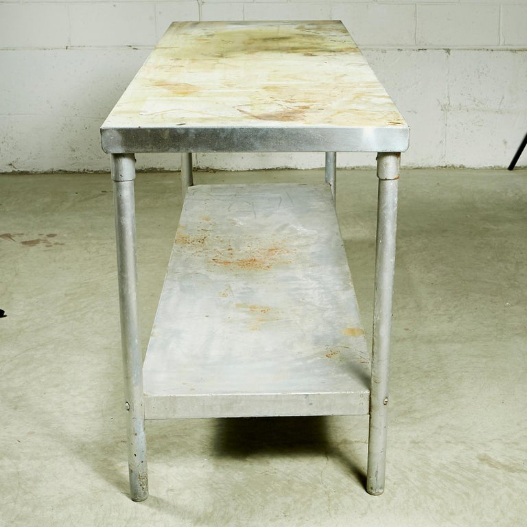 20th Century Industrial Metal Rectangular Commercial Table For Sale