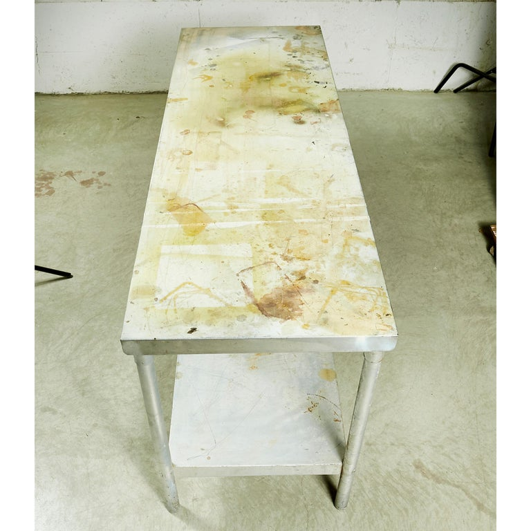 Industrial Metal Rectangular Commercial Table For Sale 1
