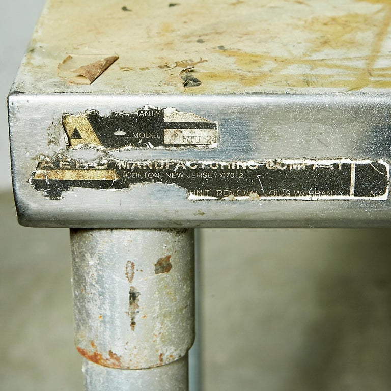 Industrial Metal Rectangular Commercial Table For Sale 2