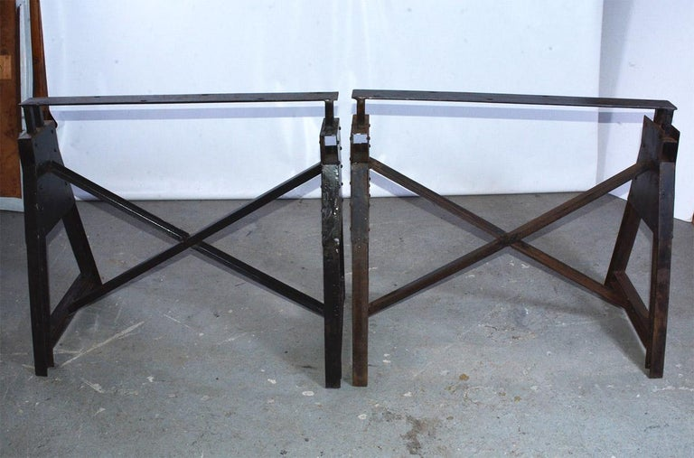 Dutch Industrial Metal Saw Horse Table Base For Sale