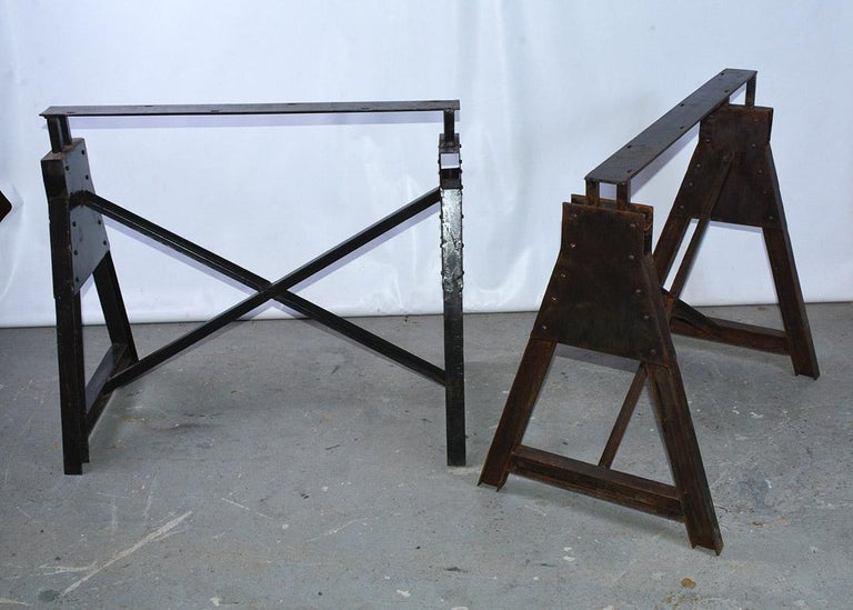 Industrial Metal Saw Horse Table Base In New Condition For Sale In Great Barrington, MA