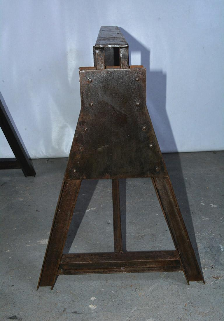 Contemporary Industrial Metal Saw Horse Table Base For Sale