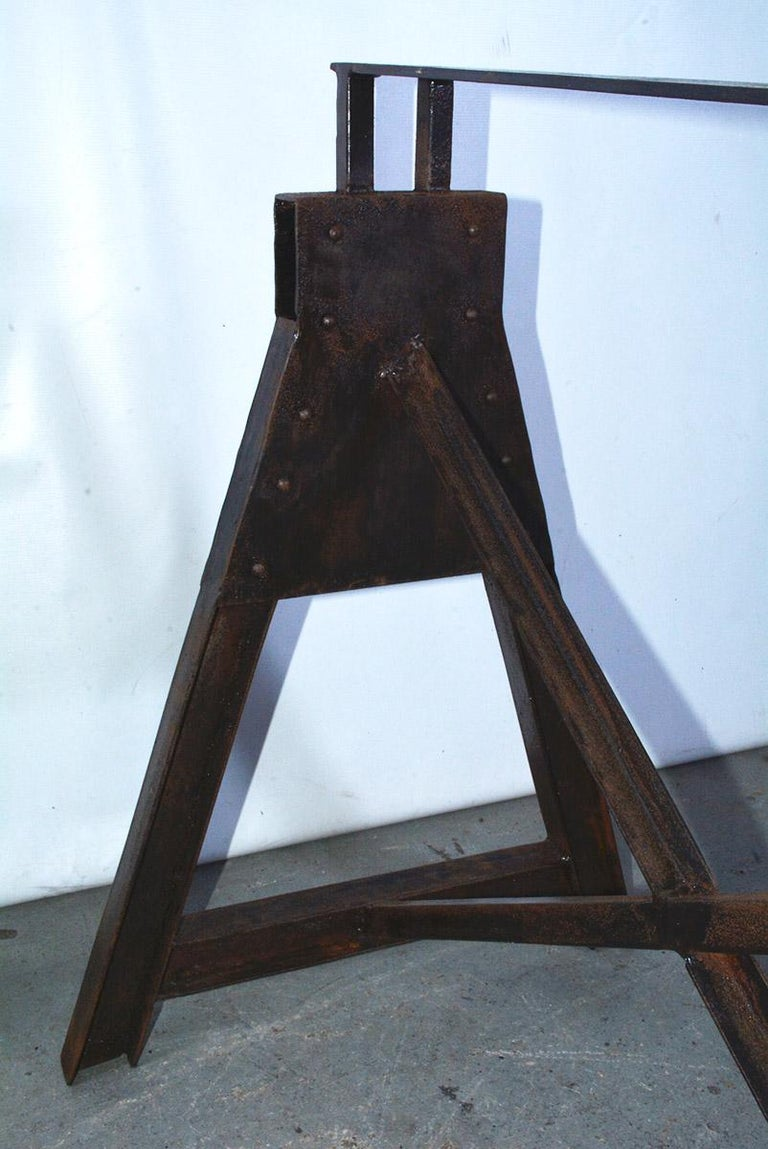 Iron Industrial Metal Saw Horse Table Base For Sale