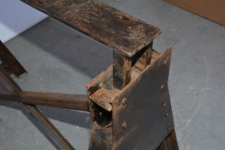 Industrial Metal Saw Horse Table Base For Sale 2