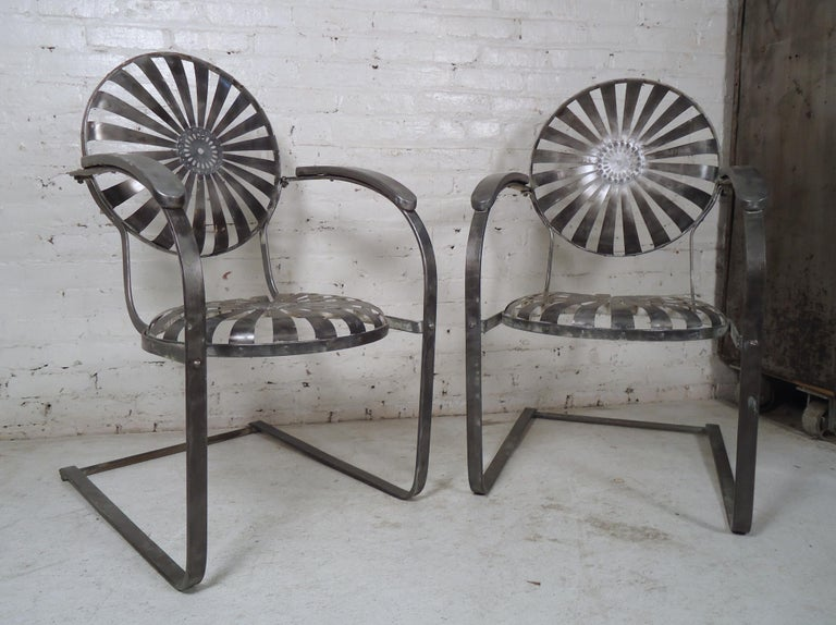 Industrial Metal Spring Chairs In Good Condition For Sale In Brooklyn, NY