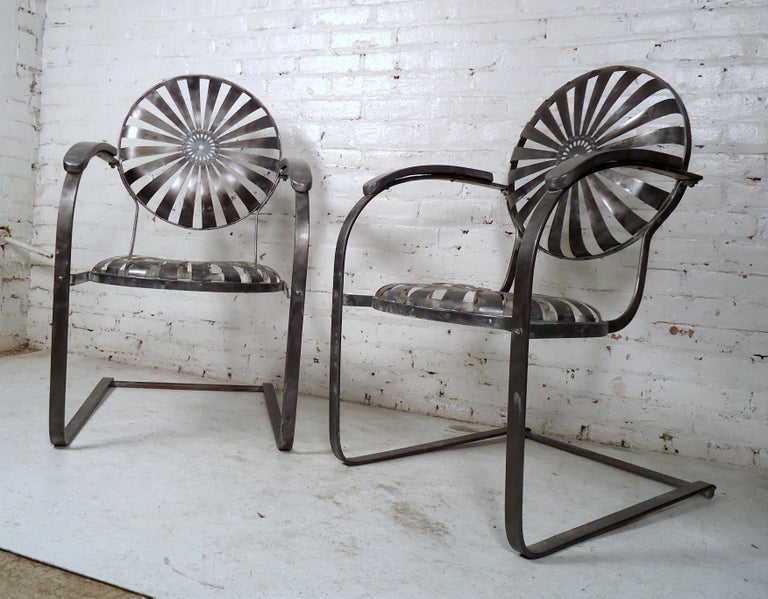 20th Century Industrial Metal Spring Chairs For Sale