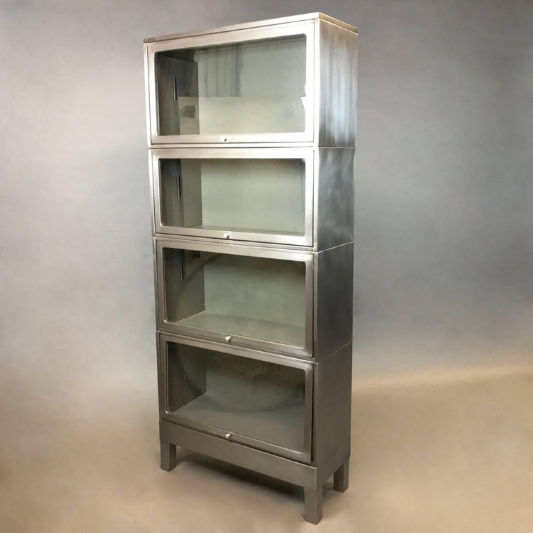 Industrial Mid Century Brushed Steel Barrister Bookcase At