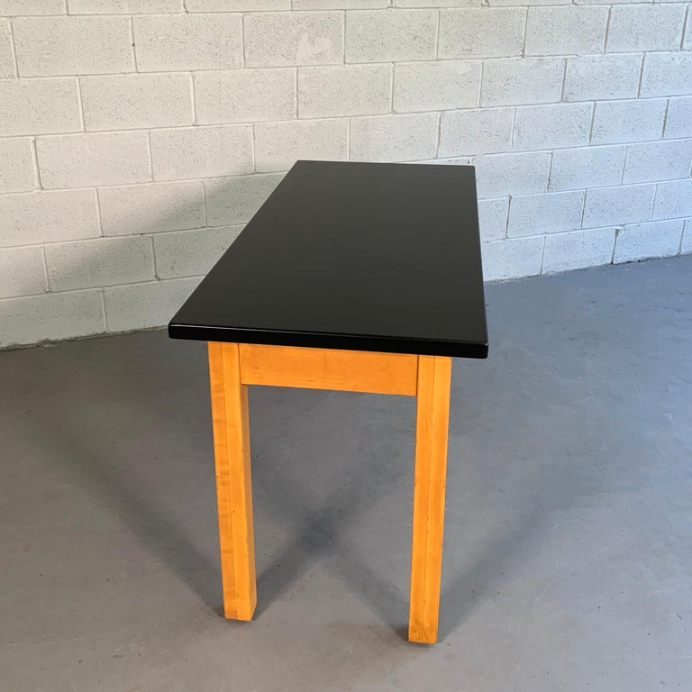 Industrial Midcentury Maple Laboratory Console Work Table For Sale 4