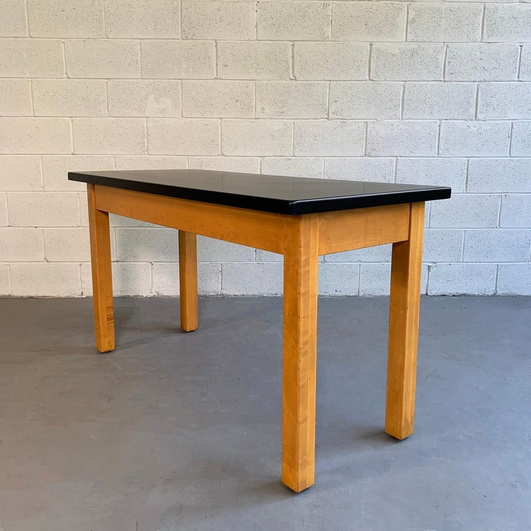 Industrial Midcentury Maple Laboratory Console Work Table For Sale 5