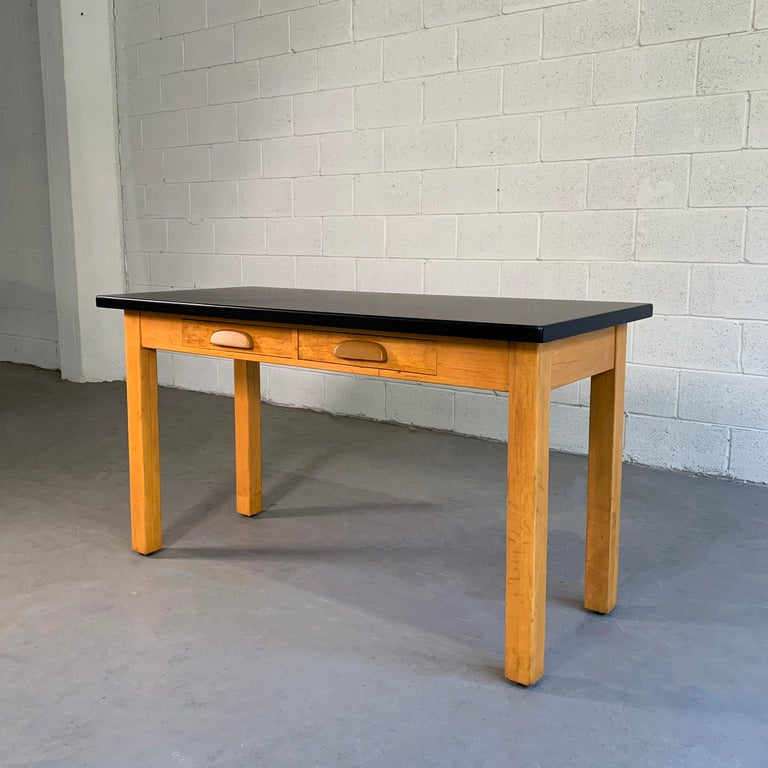 American Industrial Midcentury Maple Laboratory Console Work Table For Sale