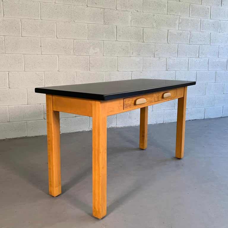 Industrial Midcentury Maple Laboratory Console Work Table In Good Condition For Sale In Brooklyn, NY