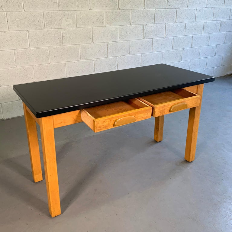 20th Century Industrial Midcentury Maple Laboratory Console Work Table For Sale