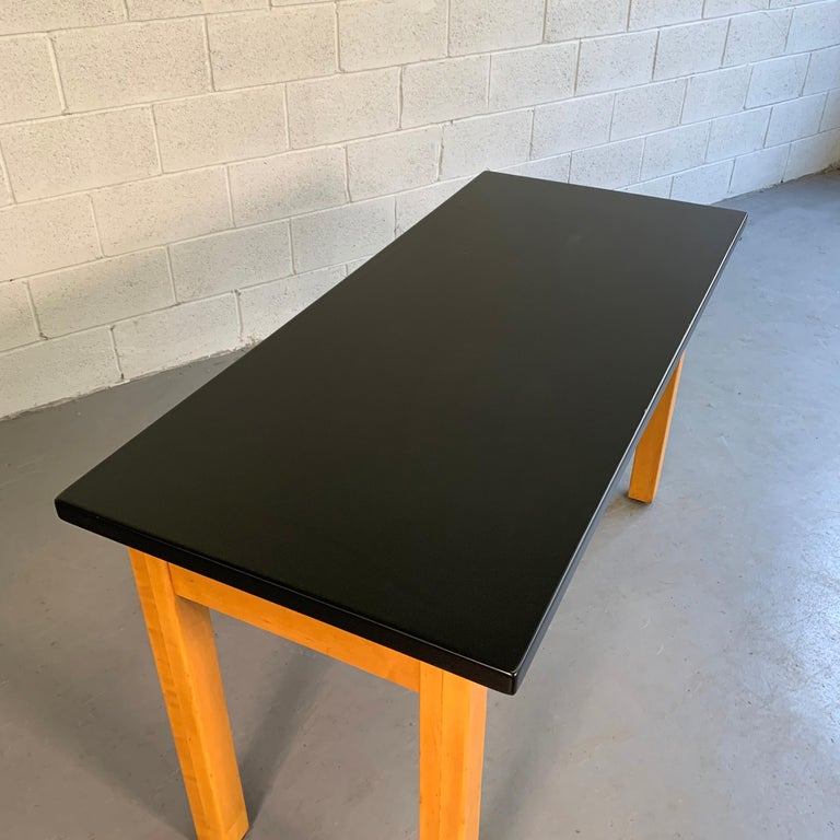 Industrial Midcentury Maple Laboratory Console Work Table For Sale 1