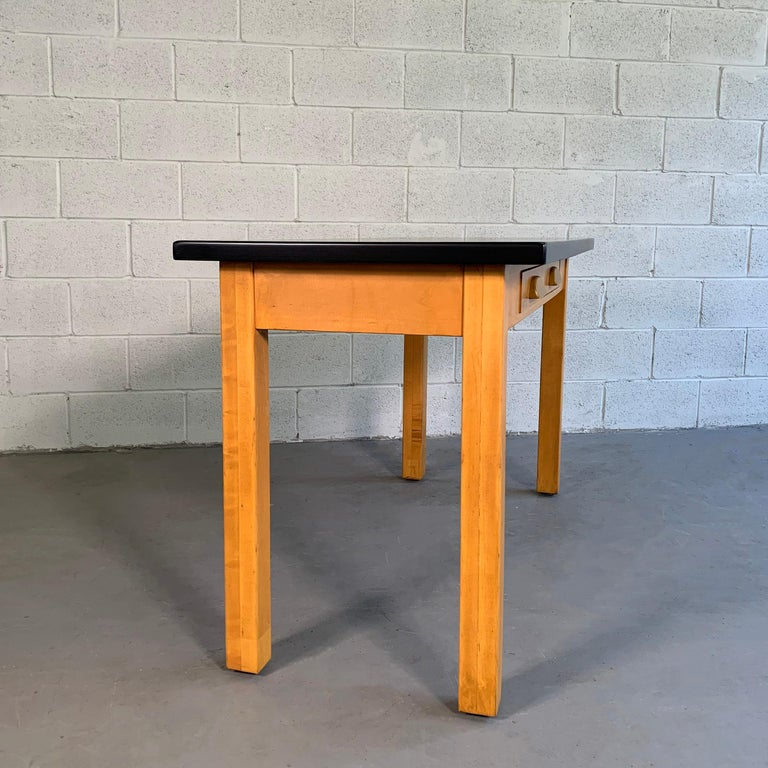 Industrial Midcentury Maple Laboratory Console Work Table For Sale 3